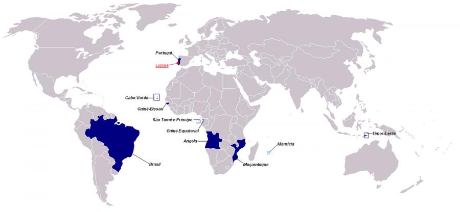 Weltkarte Comunidade dos Países de Língua Portuguesa (Gemeinschaft der portugiesichsprachigen Länder) Wikipedia cc