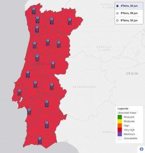 UV-Index des portugiesischen Instituts IPMA