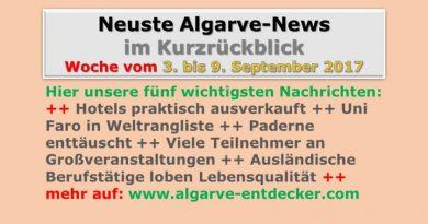 Algarve-News für die KW 36 vom 3. bis 9. September 2017
