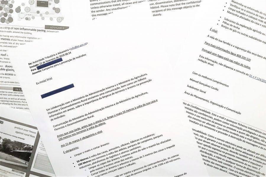 Brandschutz per Aufforderung mit E-Mail von der Regierung Portugals im Februar 2018