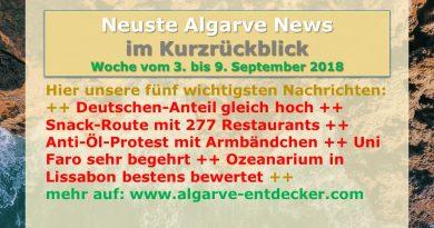 Algarve News für KW 36 vom 3. bis 9. September 2018