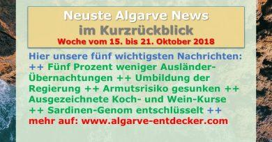 Algarve News aus KW 42 vom 15. bis 21. Oktober 2018