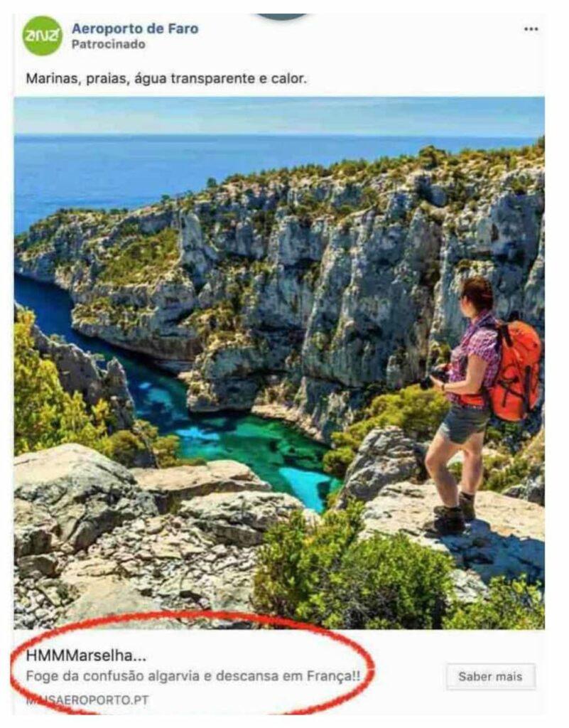 Airport-Werbung von Faro für Marseille überrascht an Algarave unangenehm