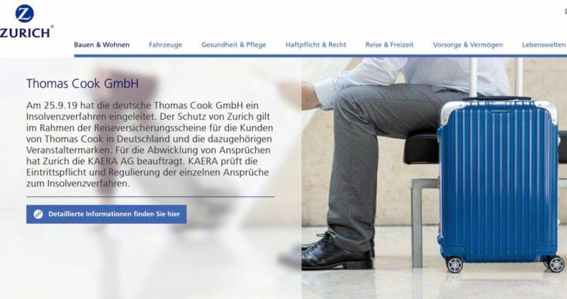 Thomas Cook-Touristen sollten sich an Insolvenzversicherung Zurich wenden