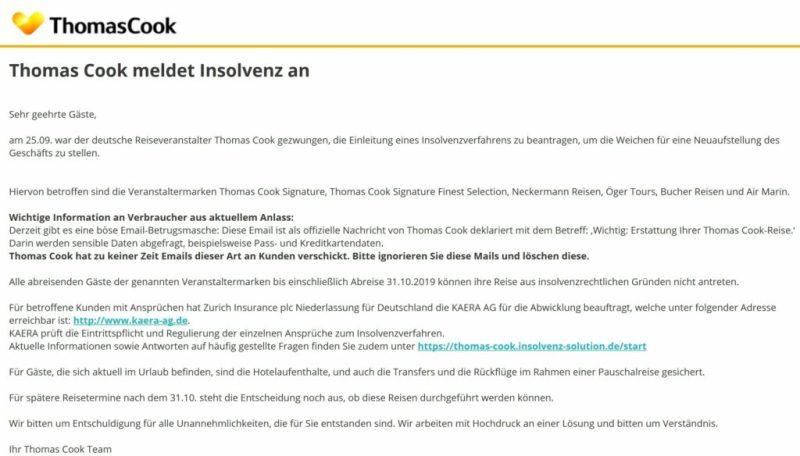 Algarve News zu Betrugs-Mails in Zusammenhang mit Thomas Cook-Pleite